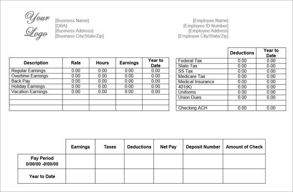 5 Printable Pay Stub Templates in Word Format - Excel Template