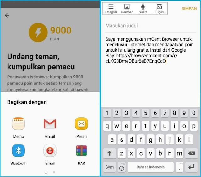 mCent Browser, Cuma Browsingan Bisa Dapet Pulsa!