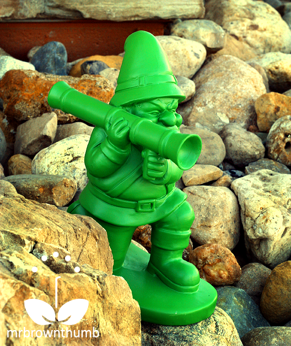 Green Army Man Garden Gnome on Rocks