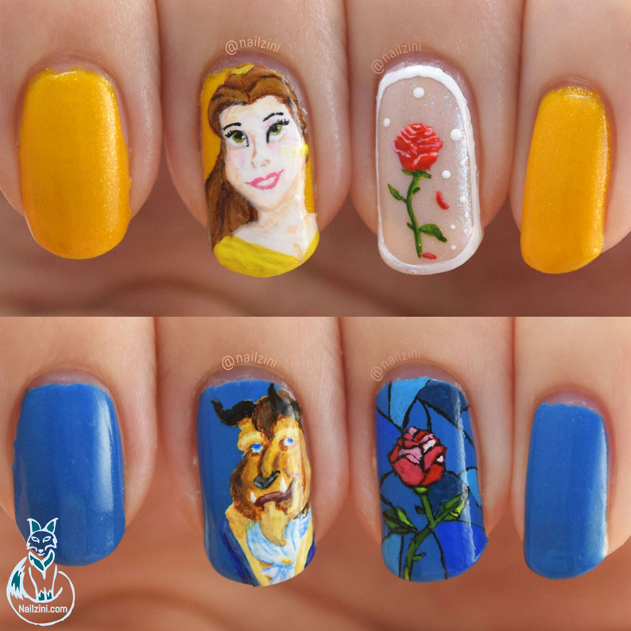 Beauty and the Beast Roses Nail Art Nailzini