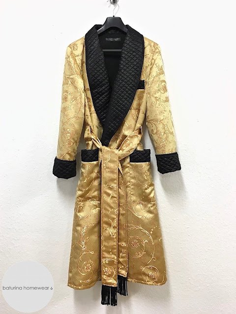 Men's silk dressing gown quilted robe long