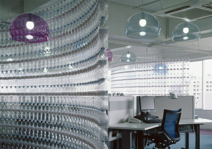 Water Bottle Screen Klein Dytham Designed Danone Waters Office In Tokyo Used As The Theme Thousands Of Empty Plastic Bottles Were Strung Using