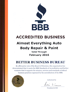 2015 BBB Better Business Bureau Accreditation for Almost Everything Autobody