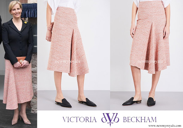Countess Sophie wore Victoria Beckham Tweed Side Drape Midi Skirt