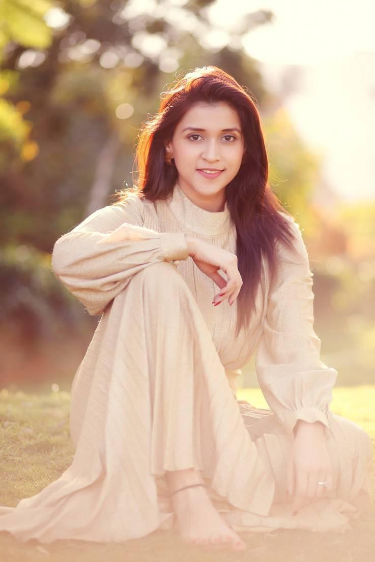 Mannara Chopra Photoshoot Stills In Cream Colour Dress -1257