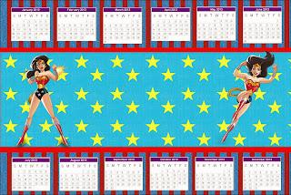 Calendario 2013 para imprimir gratis de Mujer Maravilla.