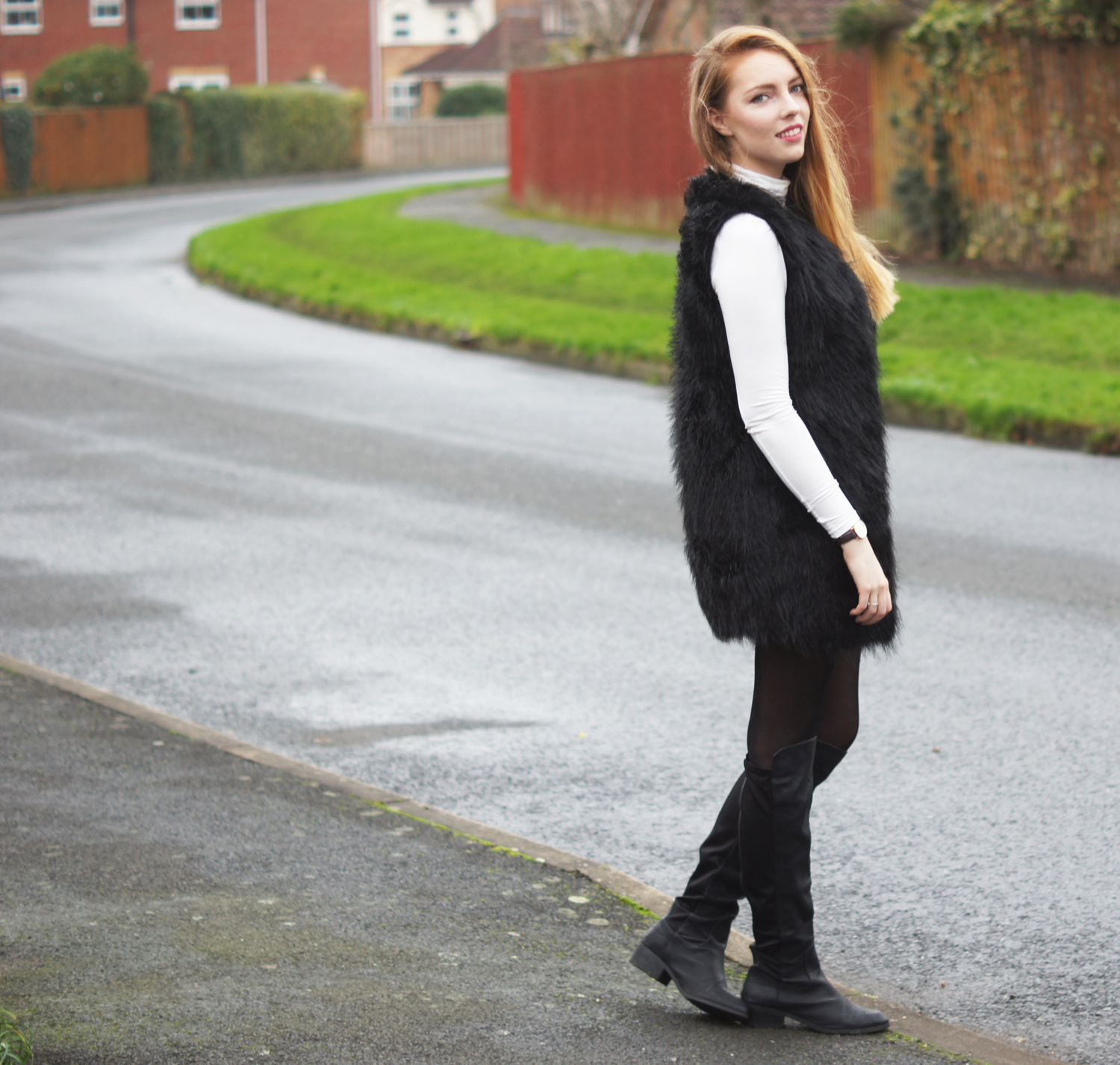 black fur gilet boohoo