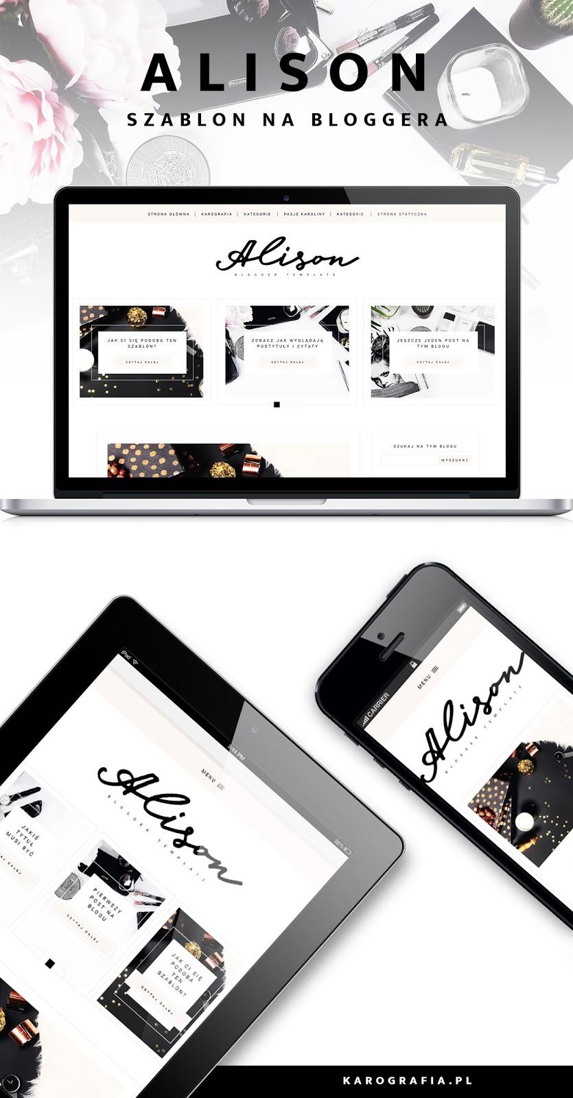 szablon na bloggera (blogspota) do kupienia - Alison - oryginalny układ postów