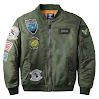 Neo-wows Bomber Jacket Men with Patches
