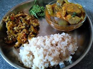 Hand pounded rice, Drumstick Brinjal Sambhar, Bitter gourd poriyal, Cilantro Chutney