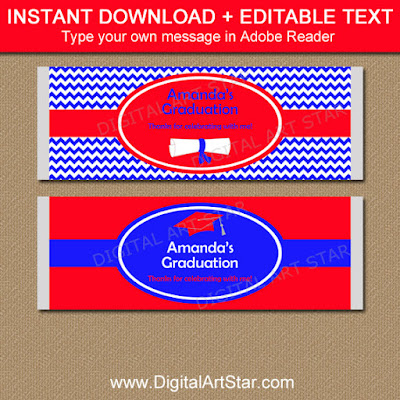 graduation candy wrapper template in royal blue and red with editable text