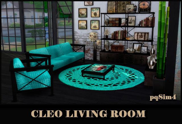 Cleo Living Turquesa. Sims 4 CC.