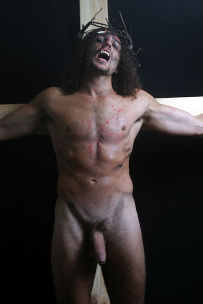 Naked nude male crucifixion