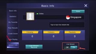 pilih menu stream dan aktifkan tombol on live stream