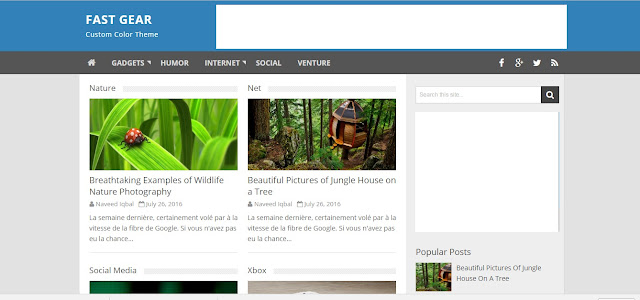 Fast Gear Blogger Responsive Seo Friendly Template For BLogger