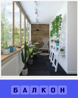 балкон сделали как отдельную комнату с цветами, стульями и полками