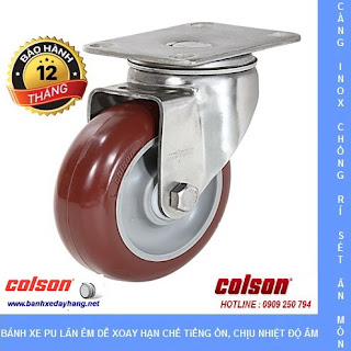 Bánh xe đẩy càng inox 304, bánh xe PU tải từ 90kg đến 114kg/bánh www.banhxedayhang.net