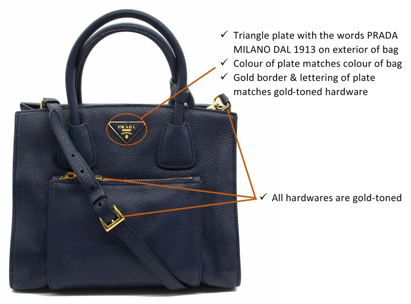 21edc028876 #4 Interior logo: There should be a rectangular plate on the inner pocket  of the bag that reads PRADA MADE IN ITALY or PRADA MILANO MADE IN ITALY.