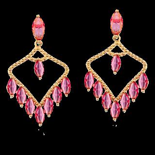 Brinco Cristal Rosa Semi Joia