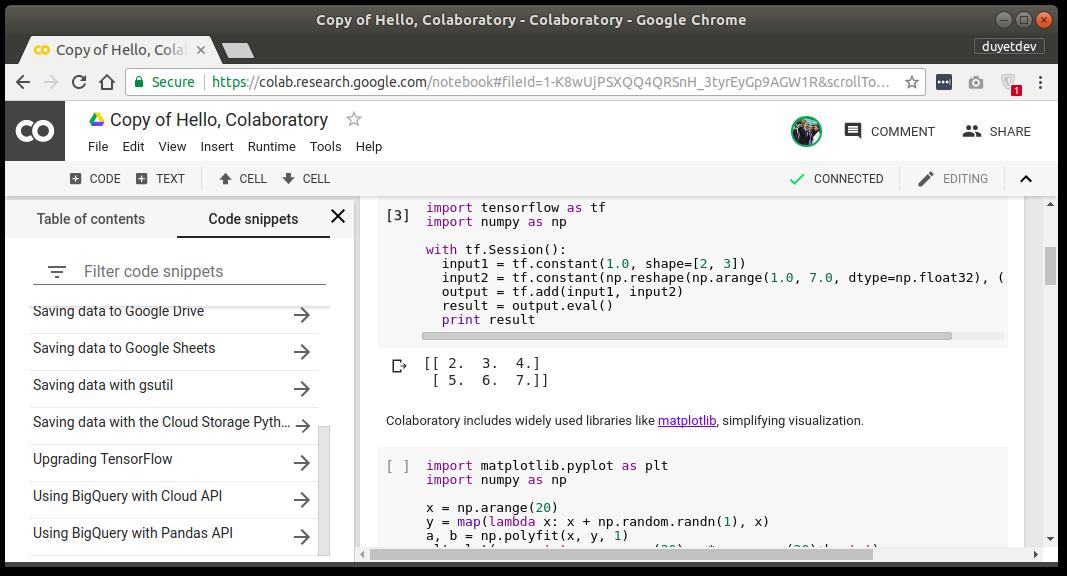 Colaboratory - phiên bản custom của Jupyter Notebook từ Google - Tôi