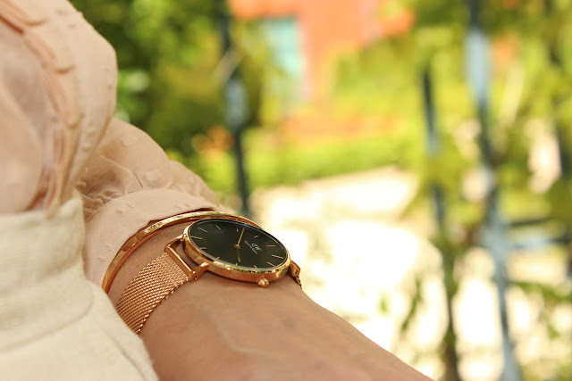 rose et gold, panier and other stories, escarpins minelli, montre rose gold daniel wellington les petites bulles de ma vie