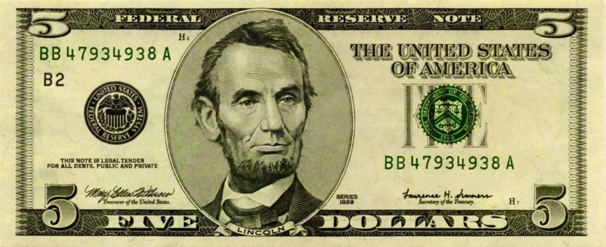 Fotografia de Abraham Lincon en los billetes de dolar