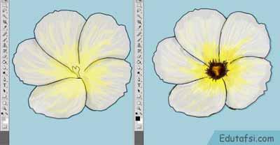 Menggambar bunga pukul sembilan di photoshop