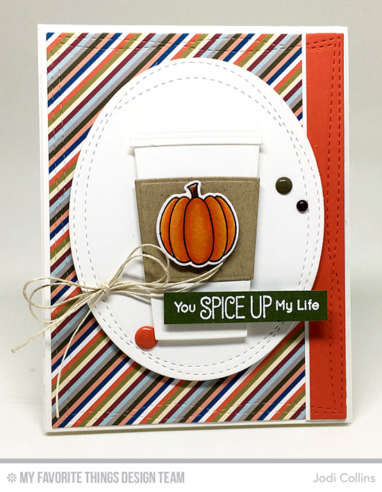 Handmade card from Jodi Collins featuring Birdie Brown Recipe for Happiness stamp set, Fall Friends stamp set and Die-namics, Wonky Stitched Oval STAX, Wonky Stitched Rectangle STAX, Laina Lamb Design Coffee Cup, and Blueprints 2 Die-namics #mftstamps
