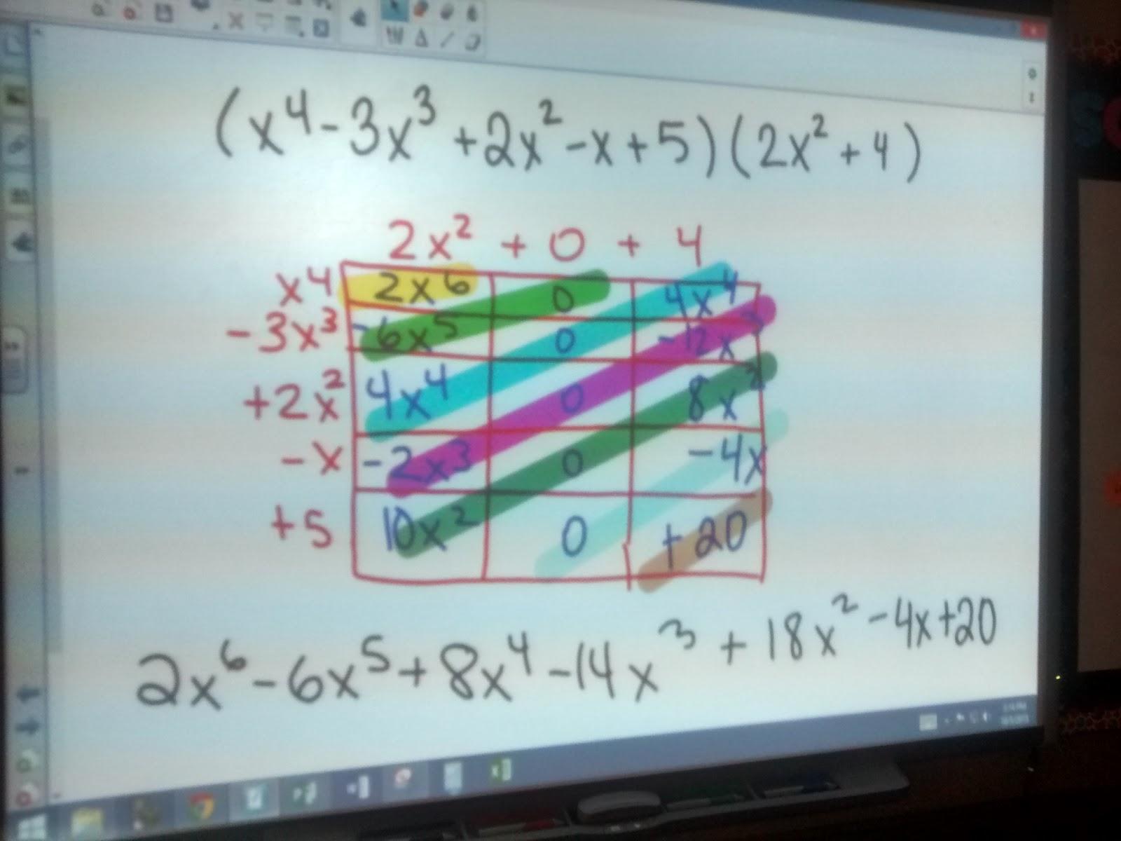 Math Love Multiplying Polynomials Using The Box Method