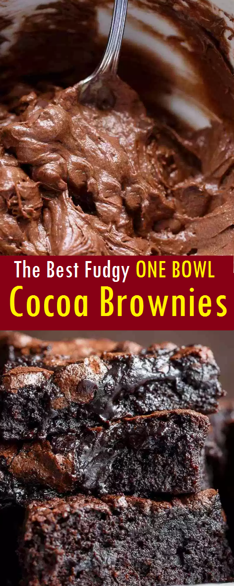 The Best Fudgy ONE BOWL Cocoa Brownies!