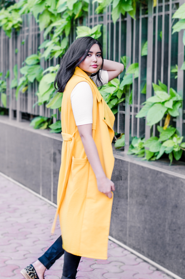 Yellow Longline Duster Coat, Victoria Beckham style
