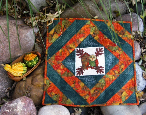 Fall Owl centerpiece @Freemotion by the River