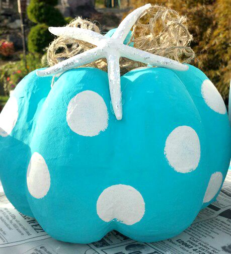 Coastal Beach Blue Polka Dot Painted Pumpkin