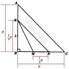 Penjelasan segitiga siku-siku sama kaki ABC dan KMN