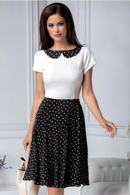Rochie office cu guler alb cu negru si imprimeu cu buline