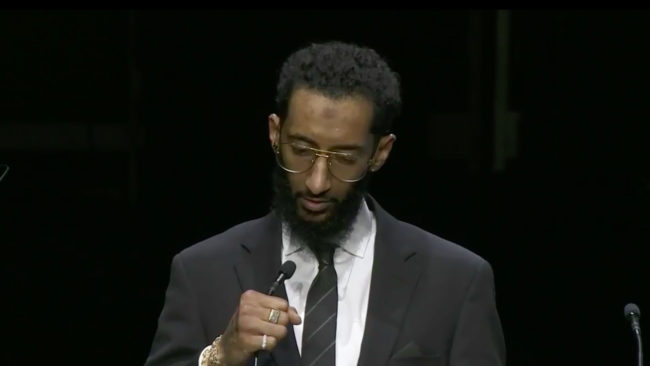 <Samiel Asghedom&#039;s Moving Eulogy of Brother Nipsey Hussle at Memorial [Video]