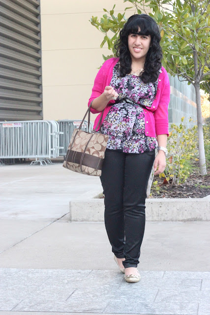 Cardigan, Floral Top and Trousers Work Outfit Inspiration