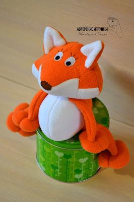 Игрушка лиса, купить лису из флиса, лисенок оранжевый, текстильная  игрушка лиса, купить игрушку лисица киев