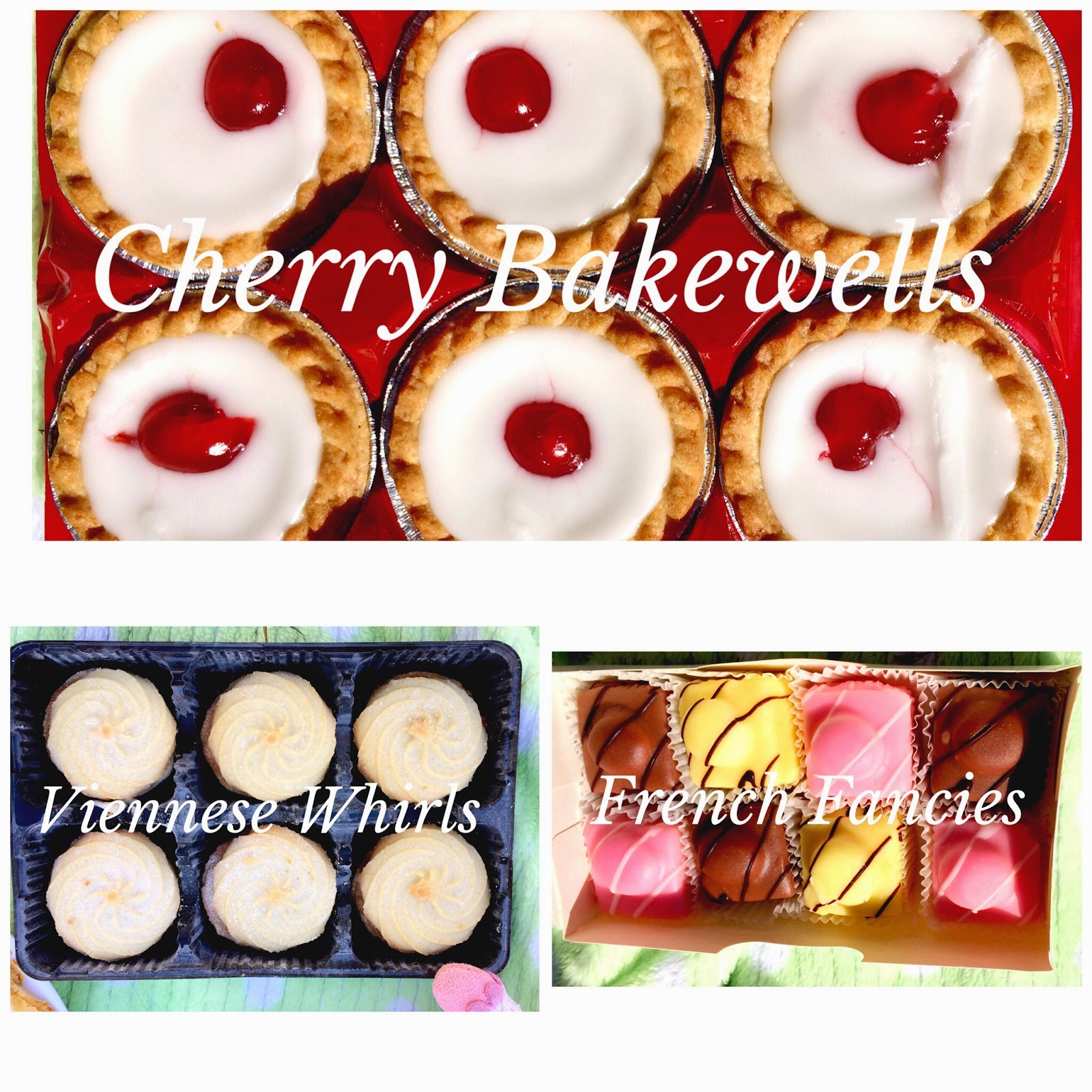 cherry bakewells, french fancies