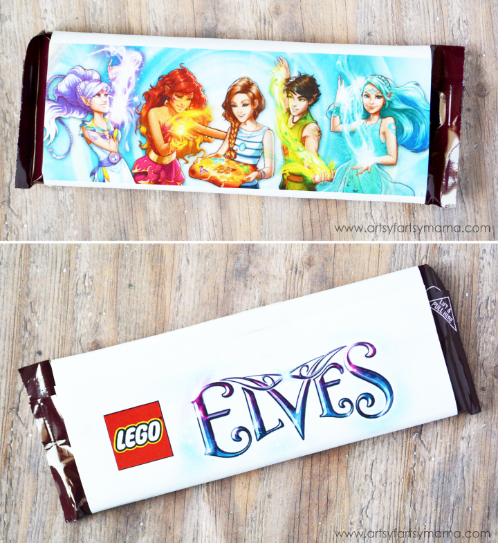 Free Printable Lego Elves Candy Bar Wrapper at artsyfartsymama.com #giftidea #LEGO