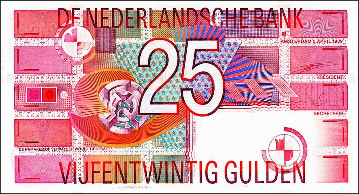 Banknotes of the Dutch guilder Netherlands 25 Gulden Banknote 1989