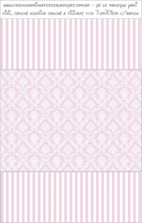White Arabesques in Lilac Quinceañera Free Party Candy Bar Labels