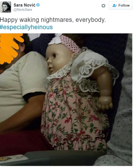 man buys flight ticket baby doll