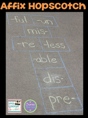 Affix Hopscotch! Check out this grammar activity plus four more engaging grammar games for upper elementary students! This blog post contains FREEBIES, too!