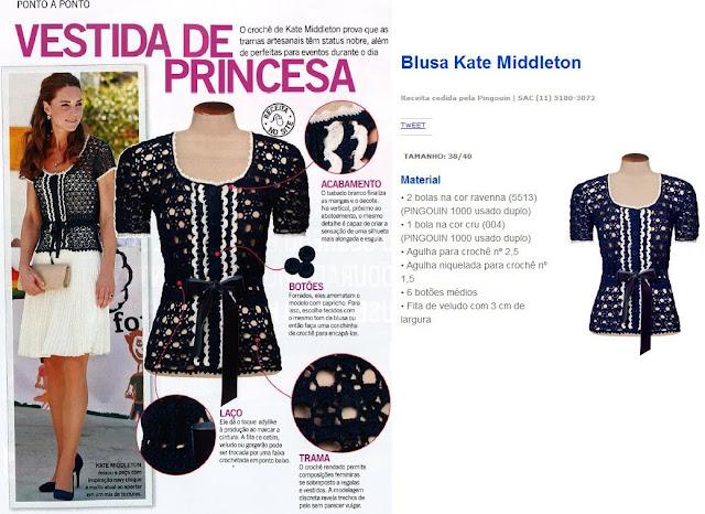 Blusa de Crochê Kate Middleton - Receita e gráfico