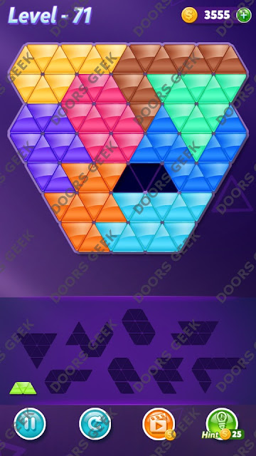 Block! Triangle Puzzle 9 Mania Level 71 Solution, Cheats, Walkthrough for Android, iPhone, iPad and iPod