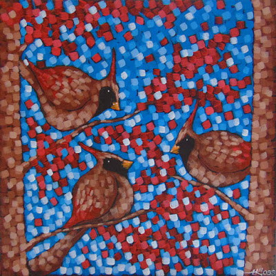cardinals in the trees acrylic on canvas by aaron kloss, painting of female cardinals, pointillism, duluth mn artist, aaron kloss, square painting