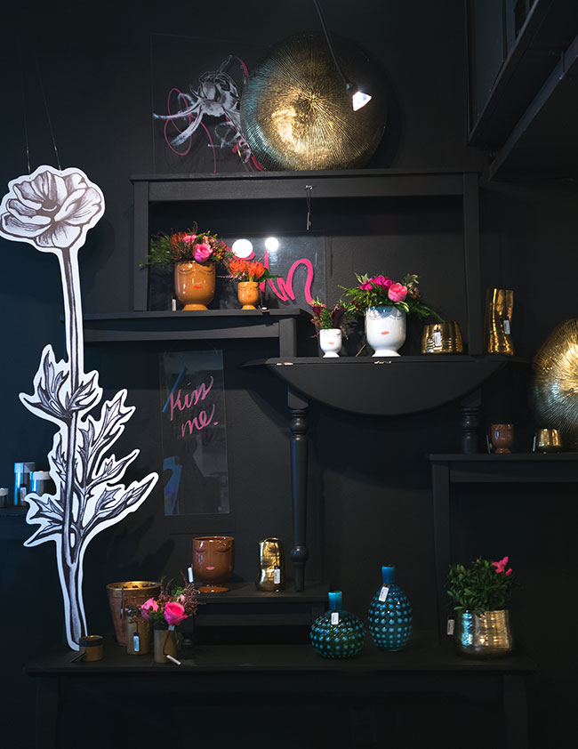 Black on Black merchandising display by Accent Decor