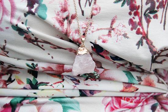 Rose Quartz Druzy Necklace LE TOTE