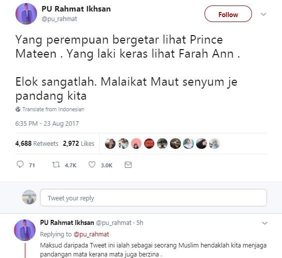 PU Rahmat Kena Kecam Gara-Gara Tweet Tentang Farah Ann